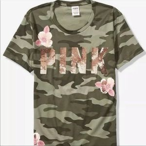 NWT VS PINK BLING CAMO FLORAL CAMPUS TEE